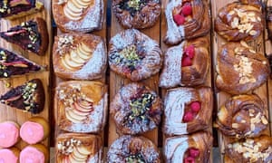 Overhead shot of a tray of pastries from Rye Bakery, Frome, Somerset, UK.