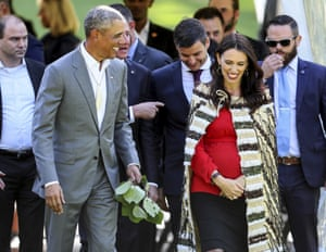 Barack Obama with Jacinda Ardern at Government House in Auckland