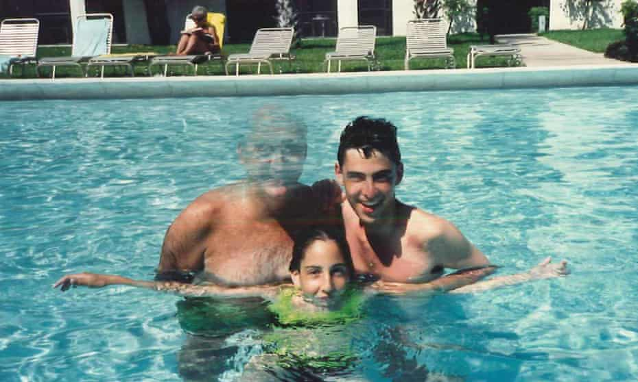 Peter Savodnik (right) as a young man with his father and sister in a swimming pool