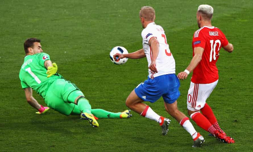 Aaron Ramsey scores the opening goal for Wales in the 3-0 victory over Russia at Euro 2016