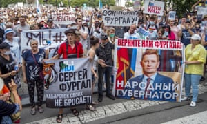 Thousands of protesters demanded the return of Sergei Furgal in Khabarovsk.