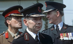 Sir Kenneth Newman, centre, in 1978, during his time as the chief constable of the Royal Ulster Constabulary.