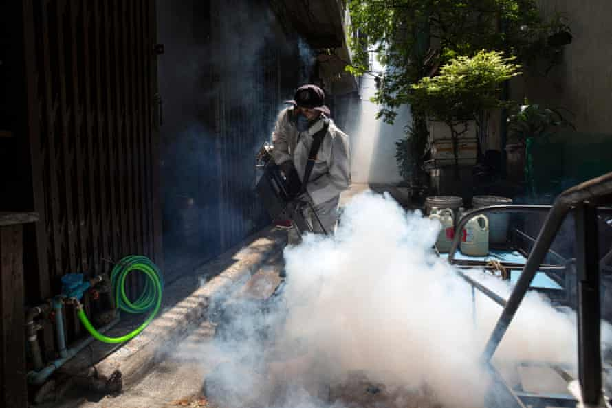 Bangkok Metropolitan Administration inspects and fumigates an area of Chinatown