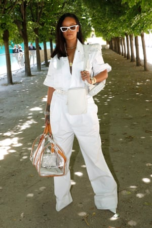 Rihanna outside the Louis Vuitton menswear show in June 2018.