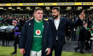 Andy Farrell speaks to Tadhg Furlong after Ireland's narrow win.