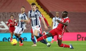 Liverpool's Sadio Mane scores their first goal.