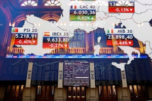 An information panel at the Spanish stock exchange today