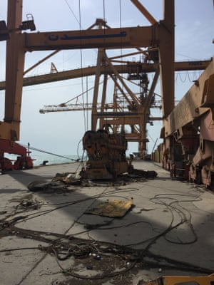The port cranes in Hodeidah have been bombed by the Saudi-led coalition forces, making it difficult to unload cargo.