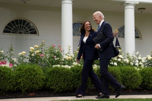 Washington DC, USPresident Joe Biden and Vice President Kamala Harris are seen in the Rose Garden without face masks as the CDC relaxed guidance for those fully vaccinated