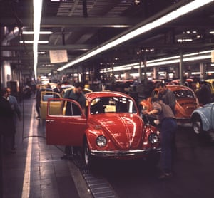 The VW Beetle production line in 1972.