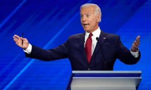 Former vice-president Joe Biden speaks during the debate.