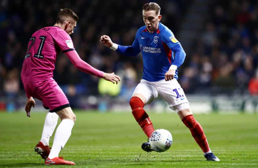 Ronan Curtis in action during Portsmouth's win at home to Rochdale on Friday.