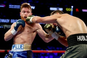 Golovkin connects with a left.