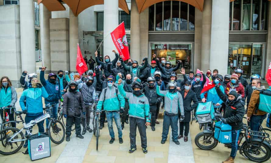 Protest by Deliveroo workers on the first day of public trading in the company's shares, City of London, 7 April 2021.
