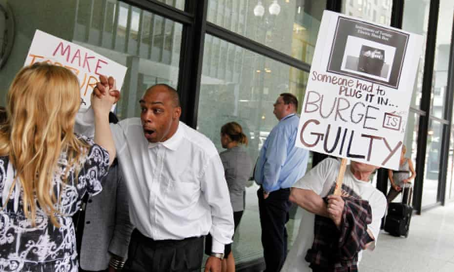 Celebrations outside a courthouse in Chicago after Jon Burge was convicted of perjury and obstruction of justice in 2010.