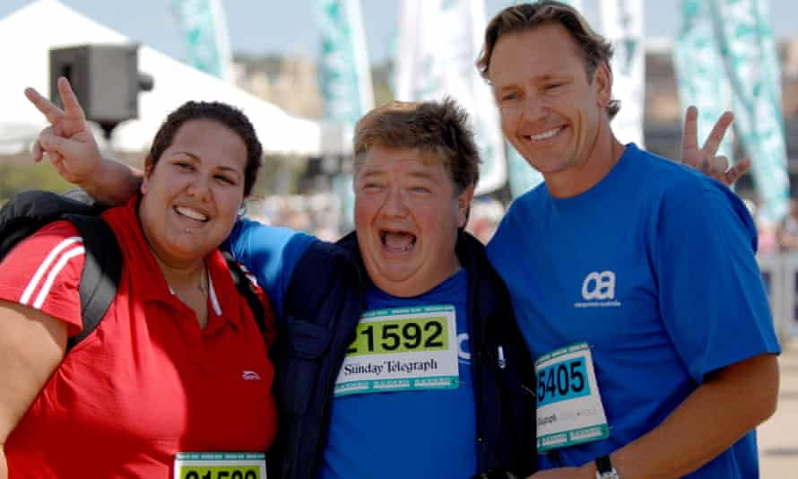 Jonathan Coleman, centre, pictured with singer Casey Donovan and personal trainer Guy Leech at the end of the Bridge Run in 2007