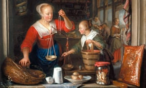 The Grocer's Shop: a Woman Selling Grapes, 1672, by Gerrit Dou, from Masters of the Everyday: Dutch Artists in the Age of Vermeer.