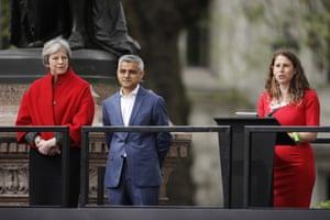 Theresa May and Sadiq Khan listen as activist Caroline Criado-Perez speaks during the unveiling
