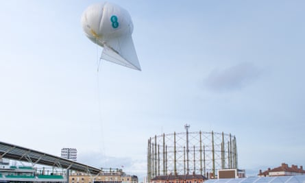 An EE 'helikite' at the launch at London's Oval cricket ground.