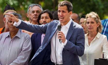 Juan Guaidó, head of the Venezuelan national assembly, at a rally in Caracas on 11 January.