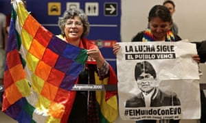 Bolivian citizens in Buenos Aires on Saturday await the arrival of Evo Morales' children Eva Liz and Alvaro, who were granted political asylum in Argentina.