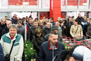 Customers flock to an electronics store in Nyiregyhaza, Hungary