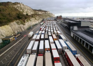 Lorries queue to enter the port of Dover as the clock ticks down on the chance for the UK to strike a deal with the EU before the end of the Brexit transition period on 31 December.