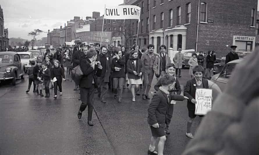 Students led by Bernadette Devlin march in Belfast, 9 October 1968