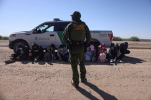 San Luis, USA group of asylum seekers from Mexico, Cuba and Haiti are detained by U.S. Border Patrol in Arizona