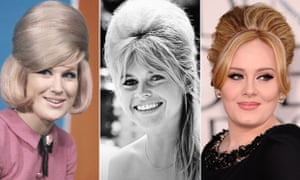 Beehive wearers Dusty Springfield and Brigitte Bardot in the 1960s, and Adele.