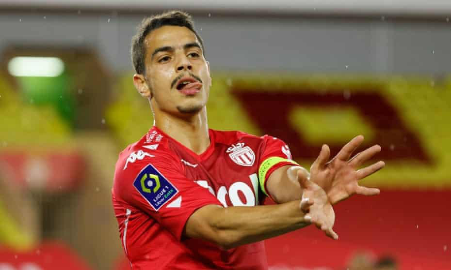 Wissam Ben Yedder celebrates after scoring for Monaco against Rennes.