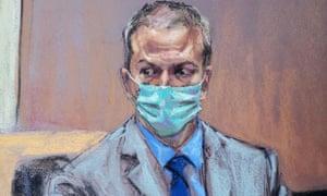 A court artist's illustration of a masked Derek Chauvin