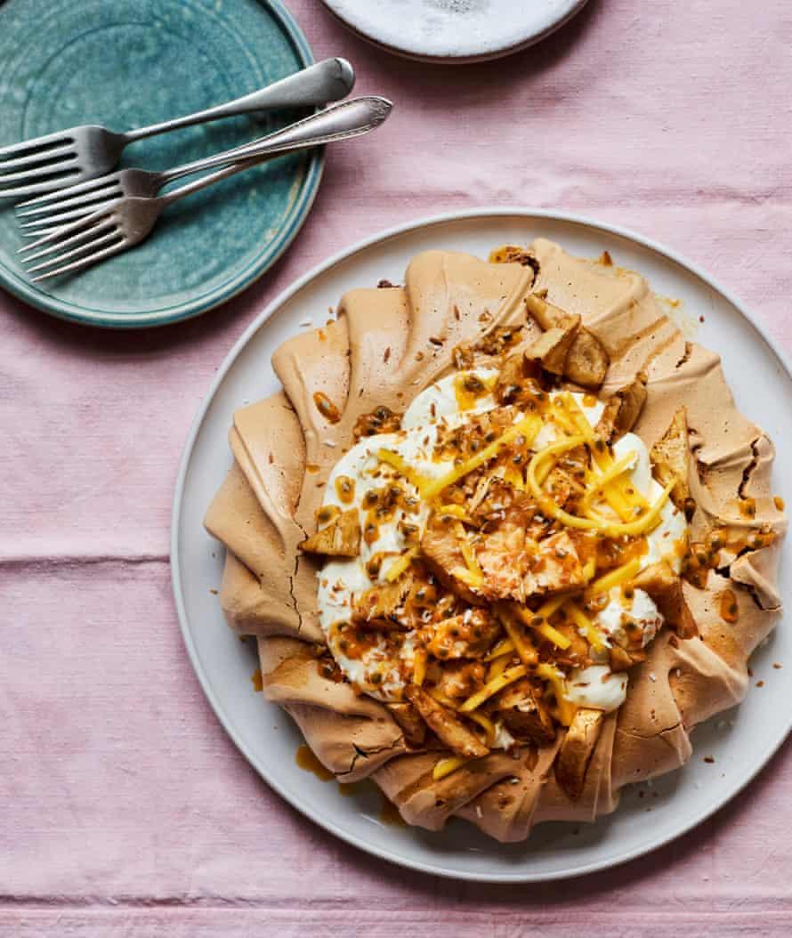 Lara Lee's coconut sugar pavlova with caramelised pineapple.