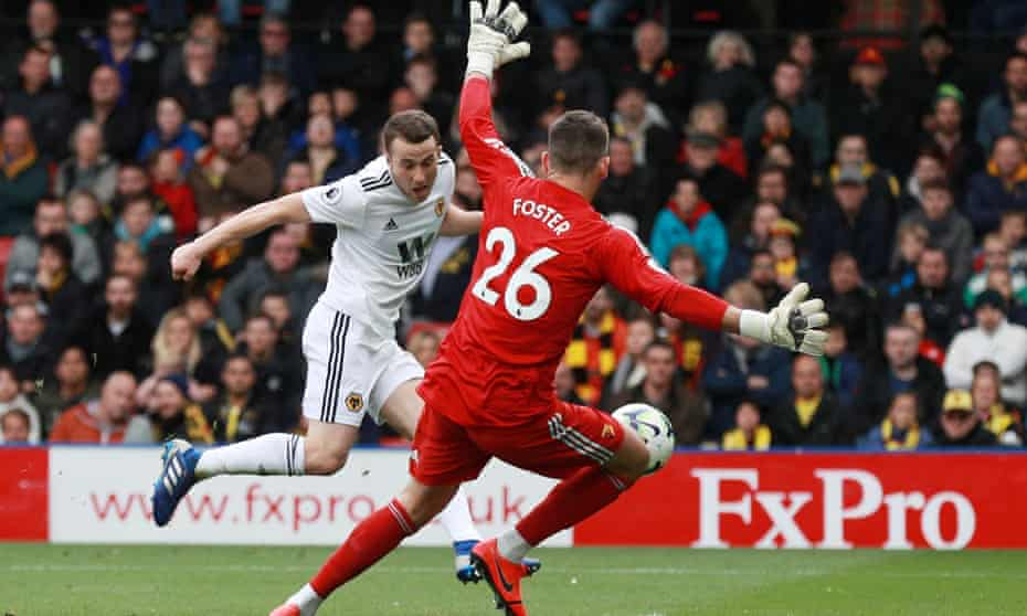 Wolves' Diogo Jota scores their second goal against Watford.