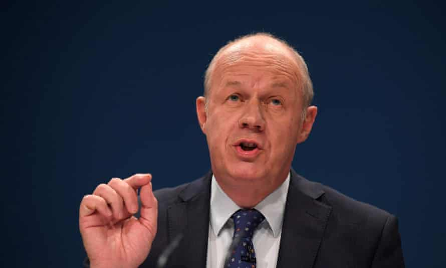 Damian Green delivers his keynote address at the annual Conservative Party Conference in Birmingham,