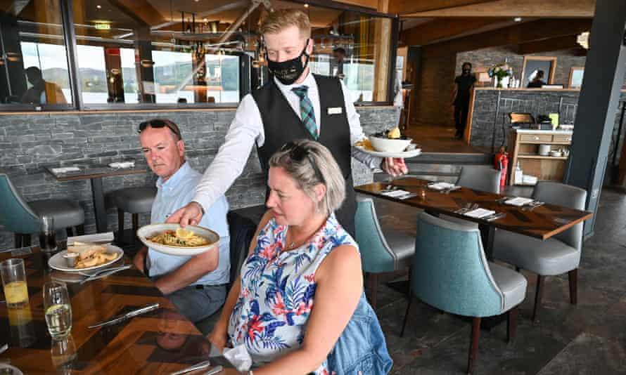 Diners at Colquhoun's Restaurant, Loch Lomond, Scotland