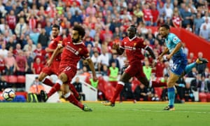 Liverpool's Mohamed Salah, scoring here against Arsenal, and Sadio Mané have the speed to expose weaknesses in Manchester City's defence.