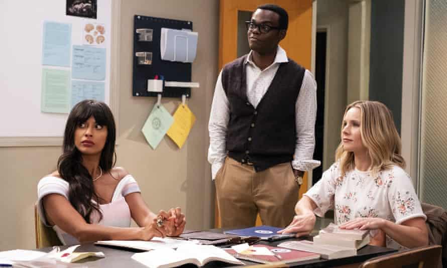 Jameela Jamil as Tahani, William Harper Jackson as Chidi and Kristen Bell as Eleanor.