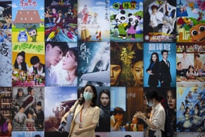 Film and TV posters at China's international fair for trade in services in Beijing.