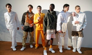 Models present creations by designer Simon Porte Jacquemus in Paris.