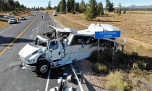 Authorities believe the driver swerved but when he yanked the steering wheel to put the bus back on the road the momentum sent it into a rollover crash.