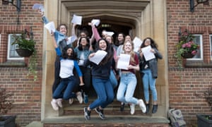 No exam results day gallery would be complete without at least one cliched shot of students jumping for joy. Here pupils at King Edwards VI high school for girls in Edgbaston, Birmingham, show us how it's done