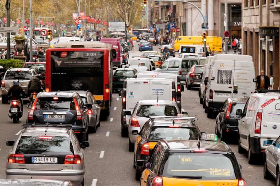 Traffic in Barcelona city centre