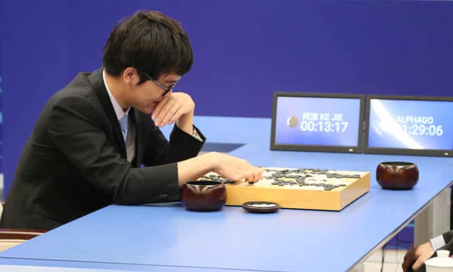 Ke Jie during the first match against Google's AlphaGo AI.