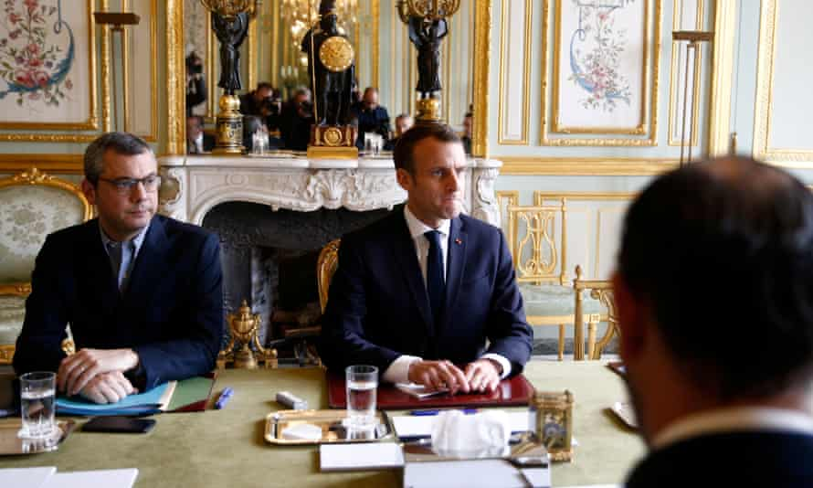 Emmanuel Macron at a meeting in the Élysée Palace a day after clashes between police and gilets jaunes protesters on 2 December.