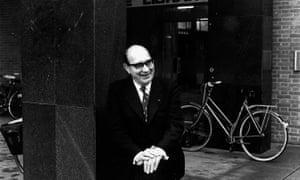 Philip Larkin, poet, outside Hull University library.