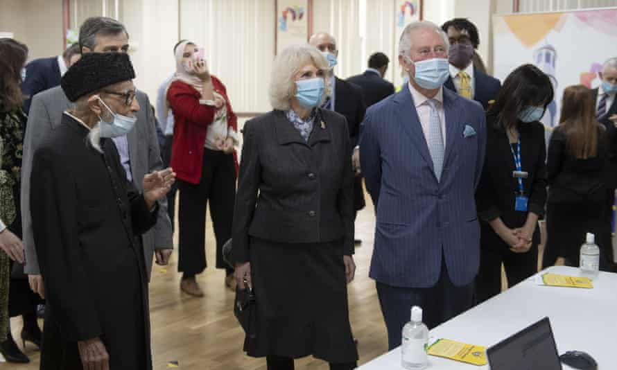 Prince Charles and Camilla, Duchess of Cornwall, visit a vaccination pop-up centre at Finsbury Park Mosque in north London.