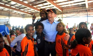 Former prime minister Tony Abbott in Yirrkala duringa visit to remote communities in 2014. His successor has made more low-key contacts with Indigenous Australians.