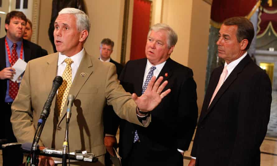 Congressman Mike Pence speaks about healthcare reform in June 2009. He's flanked by then House Minority Leader John Boehner and then Mississippi Governor Gov. Haley Barbour