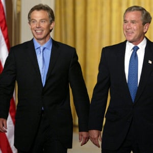 Tony Blair with George W Bush in 2003.